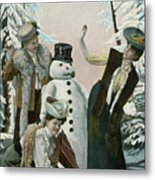 Victorian Christmas Card Metal Print