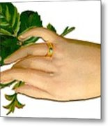 Victorian Hand And Rose Metal Print