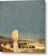 Victorian Lady By The Sea Metal Print