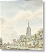 View Asperen With The City Walls And The Steeple Metal Print