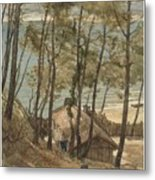 View From A Hill On A House On The Gulf Of Arcachon, August Allebe 1876 Metal Print