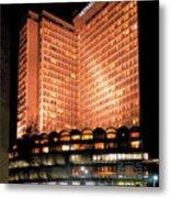 View Of Hong Kong Hilton At Night Metal Print