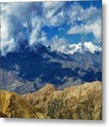 View Of Snow Peaks Leh Ladakh  Jammu And Kashmir India Metal Print