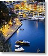 View Of The Harbour At Dusk  Portofino Metal Print