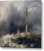 View Of The Lighthouse At Gatteville Metal Print