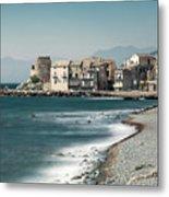 Village And Shingle Beach Of Erbalunga In Corsica Metal Print