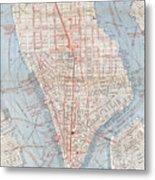 Vintage Map Of Lower Manhattan  Metal Print