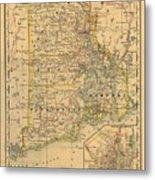 Vintage Map Of Rhode Island  Metal Print