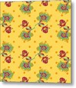 Vintage Wallpaper Seamless Rose Flower Pattern On Circles Polka  Metal Print