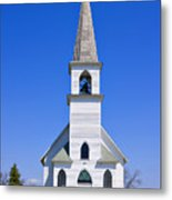 Vintage White Church With Bell  Metal Print
