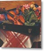 Violin Case And Flowers Metal Print