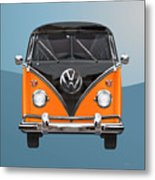 Volkswagen Type 2 - Black And Orange Volkswagen T 1 Samba Bus Over Blue Metal Print