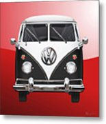 Volkswagen Type 2 - Black And White Volkswagen T 1 Samba Bus On Red  Metal Print