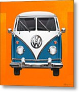Volkswagen Type 2 - Blue And White Volkswagen T 1 Samba Bus Over Orange Canvas  Metal Print