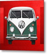 Volkswagen Type 2 - Green And White Volkswagen T 1 Samba Bus Over Red Canvas  Metal Print