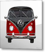 Volkswagen Type 2 - Red And Black Volkswagen T 1 Samba Bus On White  Metal Print