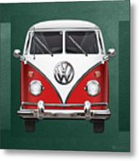 Volkswagen Type 2 - Red And White Volkswagen T 1 Samba Bus Over Green Canvas  Metal Print by Serge Averbukh