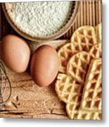 Waffles And Eggs Metal Print