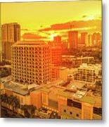 Waikiki City Sunset Metal Print