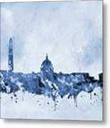 Washington Skyline-blue Metal Print