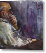 Man Watching Tv  Metal Print