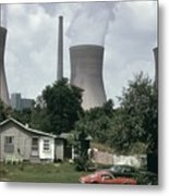 Water Cooling Towers Of The John Amos Metal Print by Everett