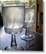 Water Glasses Sweating Metal Print