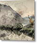 Watercolor Painting Of Stunning Powerful Red Deer Stag Looks Out Metal Print