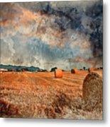 Watercolour Painting Of Beautiful Golden Hour Hay Bales Sunset L Metal Print