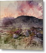 Watercolour Painting Of Stunning Summer Dawn Over Mountain Range Metal Print