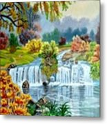 Waterfall After Monsoon Metal Print