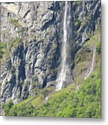 Waterfall In Geiranger Norway Metal Print