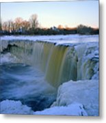 Waterfall With Bluish Icicles Metal Print