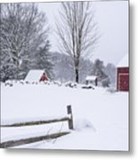 Wayside Inn Grist Mill Covered In Snow Storm Metal Print
