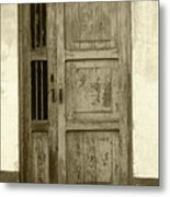 Weathered Gray Door In A Wall Metal Print