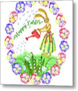 Welcome Spring.rabbit And Flowers Metal Print