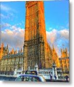 Westminster Bridge And Taxi Metal Print
