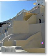 White Architecture In The City Of Oia In Santorini, Greece Metal Print