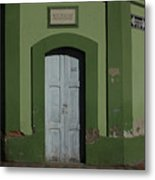 White Door In A Green Wall Metal Print
