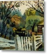 White Fence Metal Print