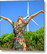 Wind Turbines Woman Metal Print