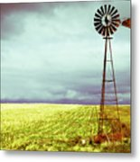 Windmill Against Autumn Sky Metal Print