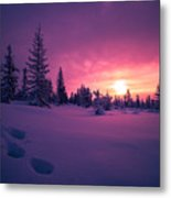 Winter Lanscape With Sunset, Trees And Cliffs Over The Snow. Metal Print