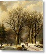Winter Scene In Reichswald Metal Print