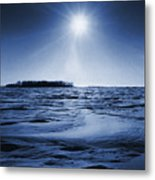 Winter Setting Sun Blue Toned Metal Print