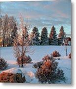 Winter Sunset In Weyburn Metal Print