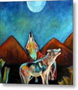 Wolves Howling At The Moon Metal Print by Pilar  Martinez-Byrne