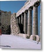 Woman At The Parthenon In Athens Metal Print