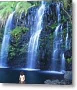 Woman At Waterfall Metal Print