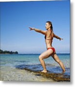 Woman Doing Yoga Metal Print by Kicka Witte - Printscapes